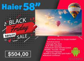 Televisor Smart Tv Haier de 55 Pulgadas 4K UHD / D-LED / Android 9.1 / Wifi / 3 x HDMI / 2 x USB - 4k