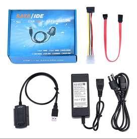 Cable Adaptador Sata + Ide A Usb 2.0con Adaptador De Enegía