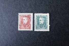 2 ESTAMPILLAS BRASIL, 1961, DUQUE DE CAXIAS, USADAS