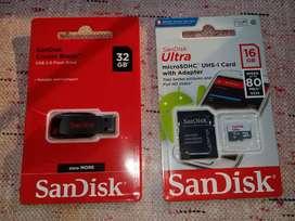 Memoria sd y pendrive. 16 gb y 32 gb