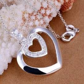 Collar Dije Doble Corazón con diamante Mujer  Caja Regalo