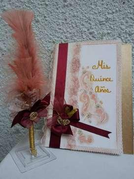 Libro Quinces + Pluma Lapicero, colores Varios, Matrimonios