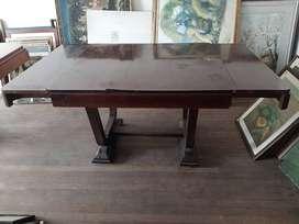 Mesa de comedor antigua con 2 extensiones art deco