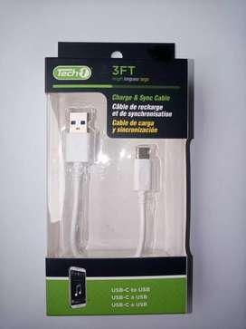 Cable de datos conectores USB y TIPO C.