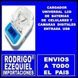 CARGADOR NUEVO UNIVERSAL LCD DE BATERIAS Y CELULARES