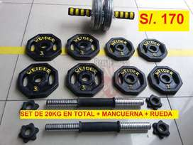 Pesas Weider : 20 kilos + par de mancuernas + rueda abdominal