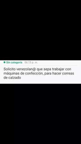 Solicito venezolano que trabaje en confección