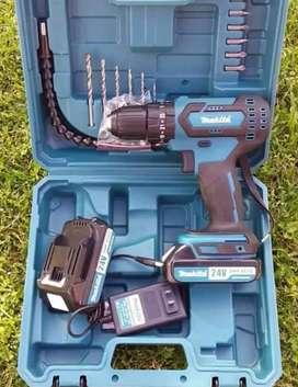 taladro inalámbrico epercutor atornillador de 24 voltios con accesorios