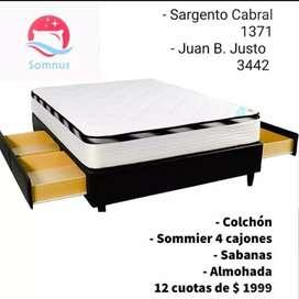140x190 Colchón + Sommier 4 cajones + almohada