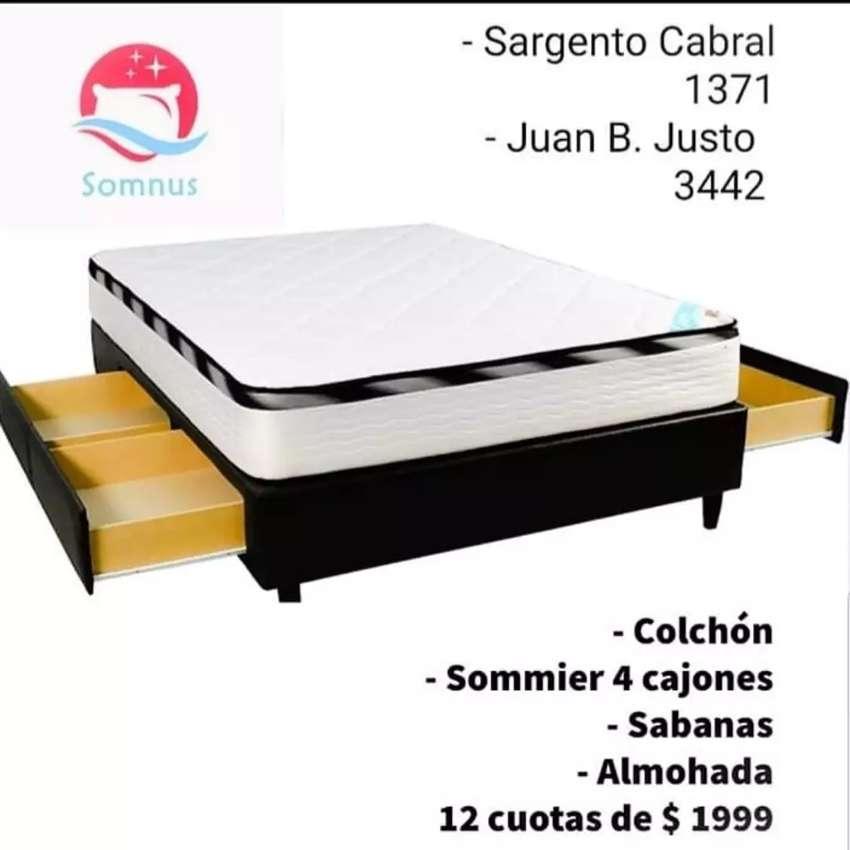 140x190 Colchón + Sommier 4 cajones + almohada 0