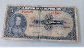 Billete de 5 pesos de Colombia de 1950