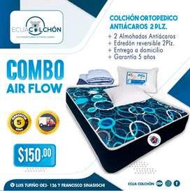 -* COLCHONES ORTOPEDICOS *- COLCHON AIR FLOW 2 PLZ + EDREDON REVERSIBLE + 2 ALMOHADAS  + ANTI-ACAROS + ENTREGA