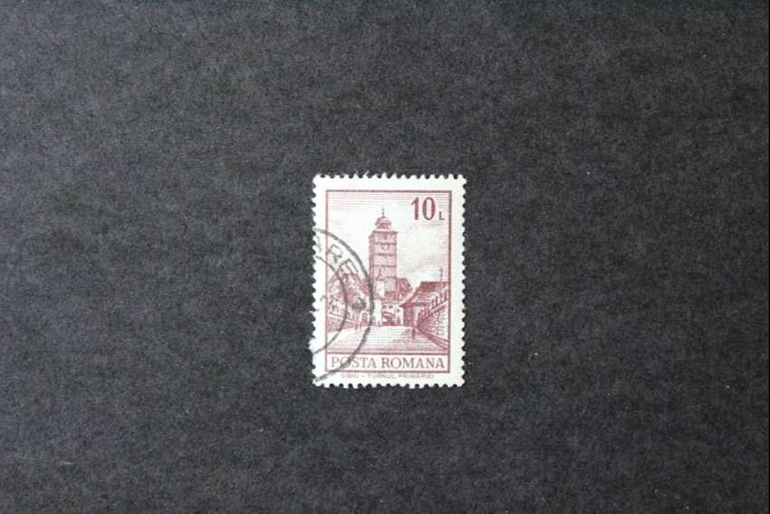 ESTAMPILLA RUMANIA, 1972, EDIFICIOS, SIBIU, EL AYUNTAMIENTO, USADA 0