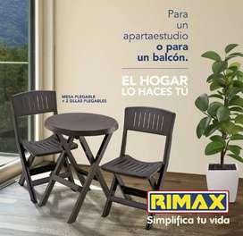 COMBO SILLAS Y MESA PLEGABLE MARCA RIMAX