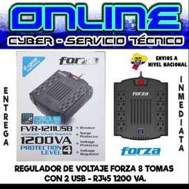 REGULADOR DE VOLTAJE FORZA 8 TOMAS CON 2 USB - RJ45 1200 VA.