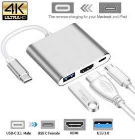 Adaptador Usb C A Av Digital Hdmi Thunderbolt  Macbook Pro Touch Bar3 Multipuerto Macbook
