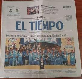 Millonarios campeón estrella 15. Periódico de colección El Tiempo