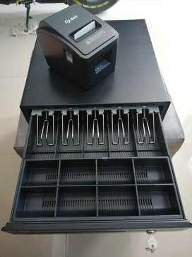 Impresora POS  y cajón monedero grande