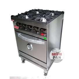 Cocina Industrial 4 Hornallas Horno Pizzero Rovesco 60 cm Ancho
