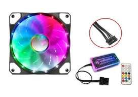 Fan Cooler Rgb Con Controlador 120mm Ventilador Pc Con Luz
