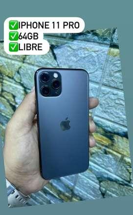 Vendo iphone 11pro color negro 64gb libre pra cualquier operador estado 10/10