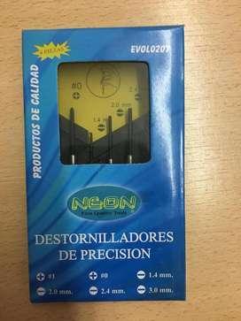 Destornillador Precisión Relojero Joyero Juego 6 Piezas Neon