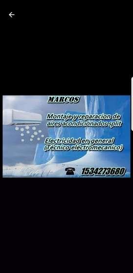 Instalacion de Aires Acondicionados Split y Electricidad Gral