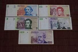 "Lote Billetes Argentinos serie ""Convertibles de curso legal"""