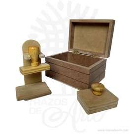Caja para sellos en MDF de 13 x 16 x 9 cm en crudo – Precio COP
