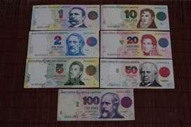 "Lote Billetes Argentinos serie completa (Convertibles ""Primer Diseño"")"