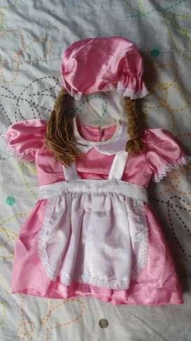 Disfraz de muñeca talla 2 rosado