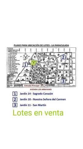 2 lotes en venta Parque cementerio de la inmaculada. Jardin san jose