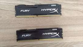 MEMORIA RAM DDR4 HYPERX FURY 16gb (2x8gb) 2400Mhz. (Envío gratis)