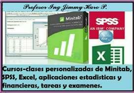 CURSOS, CLASES PERSONALIZADAS DE EXCEL, EXAMENES, APLICACIONES ESTADISTICAS, FINANCIERAS, TABLAS DINAMICAS, SPSS,MINITAB