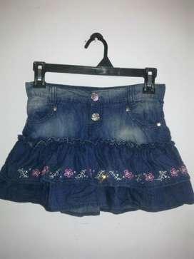 Mini falda jean yin para niña con bolero camuflado