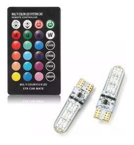 SET 2 BOMBILLOA LED RGB T10 + CONTROLADOR