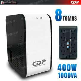 Regulador De Voltaje Cdp 1000va 400w 8 Tomas PC, Impresora