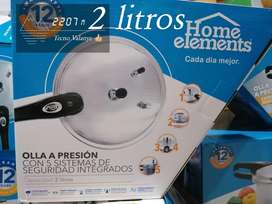 OLLA A PRESIÓN HOME ELEMENTS 2 Litros con 5 sistemas de seguridad integrados