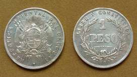 Moneda de 1 peso de plata Uruguay 1893