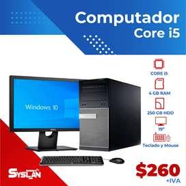 """Computador Completo Core i5 4GB RAM y 250GB DISCO DURO, Monitor 19"""""""