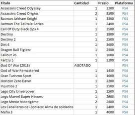 JUEGOS PS4 Y PS3 NUEVOS SELLADOS LA PLATA