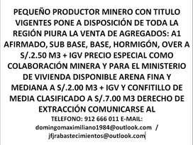 VENTA DE AGREGADOS  A SUPER PRECIO REBAJADO PRECIO ESPECIAL DOS SOLES