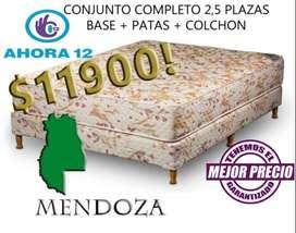 HOT SALE! SOMMIER EL MEJOR PRECIO! SOMIER COMPLETO 2 PLAZAS 1/2 GOMA ESPUMA. COLCHON MAS CAMA MZA500