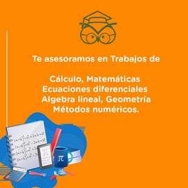 Tutores en calculo, matematicas, ecuaciones diferenciales, algebra lineal, geometria, metodos numericos, tenemos para ti