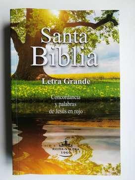 Biblia letra GRANDE, palabras en ROJO, mapas y Concordancia.