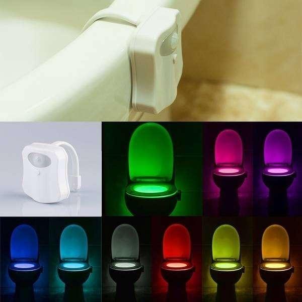 Luz de baño Luz de baño Luz de noche Decoración de seguridad 8 colores Sensor de movimiento 0