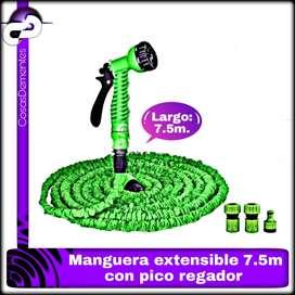 MANGUERA EXPANSIBLE RETRACTIL RIEGO 7.5 METROS PICO REGADOR