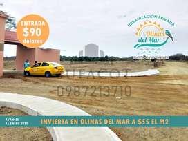 Solares a 2 Horas de Guayaquil, Playa de Puerto Cayo,Dentro de Urbanizacion Privada,Credito Directo 90 Usd de Entrada,s1