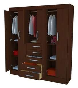 Placard Ropero Mosconi 365, 6 puertas, 5 cajones, color chocolate.