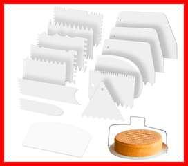 Juego de rasquetas para glaseado de tartas, 14 piezas de plástico y doble alambre para cortar tartas